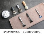 shaving accessories for man on... | Shutterstock . vector #1028979898
