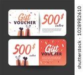 gift voucher card set template...   Shutterstock .eps vector #1028982610