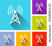 illustration of broadcast icons ... | Shutterstock .eps vector #1028984110