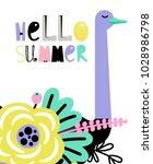 "card with bird ""hello summer""   Shutterstock .eps vector #1028986798"