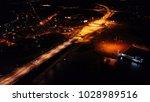 aerial bird's eye drone night... | Shutterstock . vector #1028989516