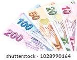 turkish banknotes  turkish lira ... | Shutterstock . vector #1028990164