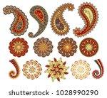 vector decorative paisley ... | Shutterstock .eps vector #1028990290