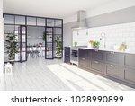 modern kitchen interior with... | Shutterstock . vector #1028990899