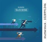 businessman run to the goal.... | Shutterstock .eps vector #1028991346