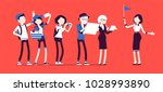 tour guide lady and group of... | Shutterstock .eps vector #1028993890
