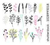 set of different twigs and... | Shutterstock .eps vector #1028995018