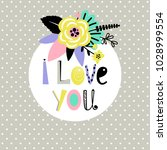 "card with flowers ""i love you"" 