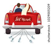 just married red car with the... | Shutterstock .eps vector #1029005209