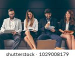 lined up business people... | Shutterstock . vector #1029008179