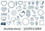 love doodles set. hearts... | Shutterstock .eps vector #1029011884