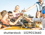 happy friends group toasting... | Shutterstock . vector #1029013660