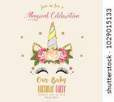 birthday invitation  with... | Shutterstock . vector #1029015133