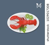 icon of lobster with lime on a... | Shutterstock .eps vector #1029017308