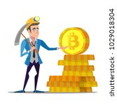 successful cartoon bitcoin... | Shutterstock .eps vector #1029018304