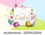happy easter background  trendy ... | Shutterstock .eps vector #1029022834