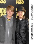"""Small photo of Cole Sprouse and Dylan Sprouse at the """"Kick-Ass"""" Los Angeles Premiere, Arclight Theater, Hollywood, CA. 04-13-10"""