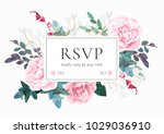 floral wedding invitation with... | Shutterstock .eps vector #1029036910