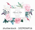 botanical wedding invitation... | Shutterstock .eps vector #1029036916