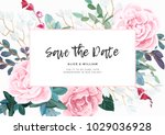 floral wedding invitation with... | Shutterstock .eps vector #1029036928