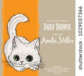 baby shower card template with... | Shutterstock .eps vector #1029037366