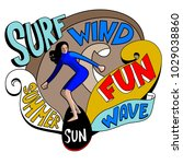 surf. surfer and big wave. surf ... | Shutterstock .eps vector #1029038860