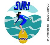 surf. surfer and big wave. surf ... | Shutterstock .eps vector #1029038920