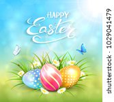 three colorful easter eggs with ... | Shutterstock . vector #1029041479