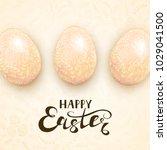 beige easter eggs with ornate...   Shutterstock . vector #1029041500