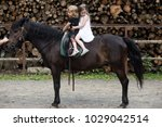 children sit in rider saddle on ... | Shutterstock . vector #1029042514
