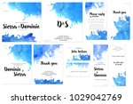 card templates set with blue... | Shutterstock . vector #1029042769