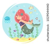 cute mermaid girl swimming sea... | Shutterstock .eps vector #1029044440
