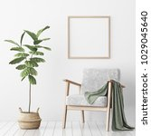 interior poster mock up with... | Shutterstock . vector #1029045640