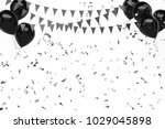 black baloons with gold... | Shutterstock . vector #1029045898