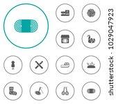 set of 12 handcraft icons set.... | Shutterstock .eps vector #1029047923
