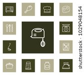 set of 13 cooking icons line... | Shutterstock .eps vector #1029048154