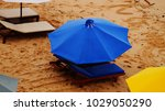 umbrellas with sunbeds ... | Shutterstock . vector #1029050290