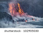 Lava erupting into Pacific Ocean in Hawaii Big Island