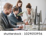 group of businessmen and...   Shutterstock . vector #1029053956