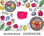 happy easter vintage frame.... | Shutterstock .eps vector #1029055258