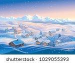 Winter Landscape With Village...