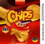 potato chips. pepper flavor.... | Shutterstock .eps vector #1029059956