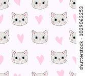 Stock vector seamless pattern vector cat pattern hand drawn kitten 1029063253