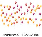 orange and red balloons group... | Shutterstock .eps vector #1029064108