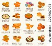 arabic sweets vector set | Shutterstock .eps vector #1029067078