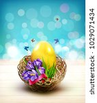 easter card with colorful eggs ... | Shutterstock . vector #1029071434