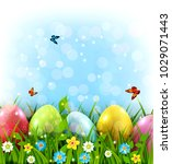 easter greeting card with... | Shutterstock . vector #1029071443