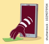burglar with hand out of the... | Shutterstock .eps vector #1029075934