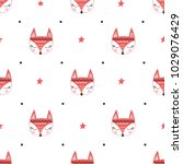 Seamless Pattern With Fox's...