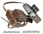 vintage old film photo camera... | Shutterstock . vector #1029076954